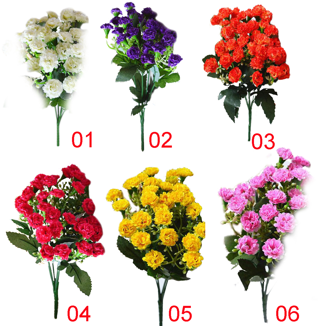 New Artificial Silk Flowers Carnation 30 Buds Flowers 6 Branches 1 Bouquet Mo