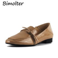 Bimolter Genuine Leather Flat Shoes Woman Cow Leather Loafers Spring Summer Apricot Casual Shoes Women Flats LFWA001