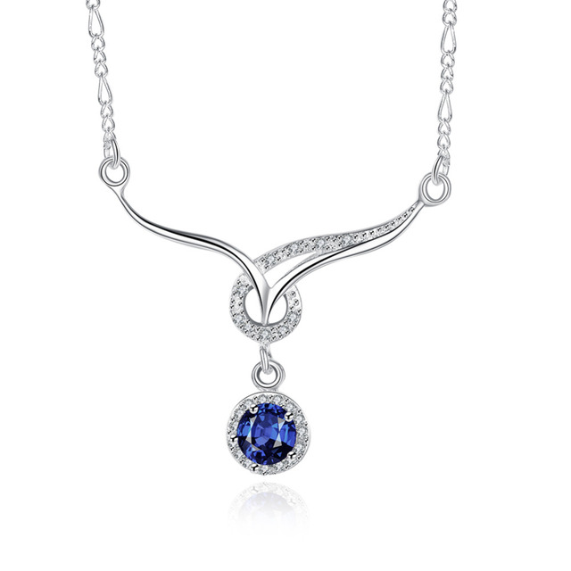 925 sterling silver necklace fashion jewellery cute letter v blue 925 sterling silver necklace fashion jewellery cute letter v blue crystal stone necklaces pendants for aloadofball Image collections