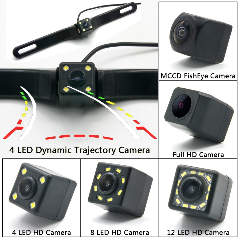 4 LEDs HD Night Vision Car Rear View Reverse Camera with Reversing Trajectory