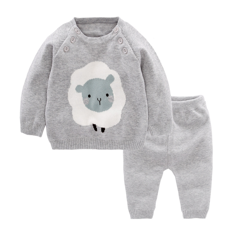 2pcs Baby Boy Set Wool 100%Knitted Cotton Sweater Girls Boys Sets Infant Warm Pullover Pants Suit Newborns Toddler Clothing Set woolen kintted newborns baby boy clothing sets spring autumn warm fashion outerwear toddler clothes suit infant baby cloth 2017
