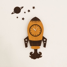 Large Living Room Wall Hanging Clock European Cartoon Mute Rocket Home Furnishing Clock Watch Children Bedroom Wall Decoration