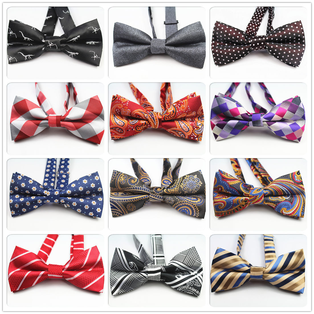 Unique Multicolor Optional Yarn Dyed Jacquard Bow Tie Hand-made New Men's High Quality Polyester Silk Decorative Bow Tie.