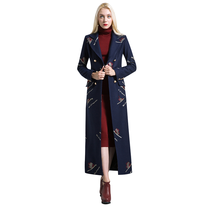 Здесь продается  Fashion S-XXXL Autumn Winter Embroidery Long Coat Florals Plus Size Luxury Trench Women OL Style Double-Breasted Outwear 6446  Одежда и аксессуары