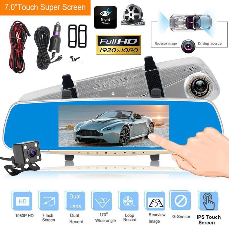 7in LCD Touch Screen Dual Lens 1080P Car Rearview Mirror Car DVR Dash Camera Video Recorder G-sensor Motion Detection Dash Cam plusobd car recorder rearview mirror camera hd dvr for bmw x1 e90 e91 e87 e84 car black box 1080p with g sensor loop recording