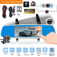 7in LCD Touch Screen Dual Lens 1080P Car Rearview Mirror Car DVR Dash Camera Video Recorder G sensor Motion Detection Dash Cam