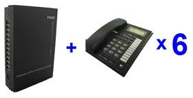 Livraison gratuite-système PBX/MINI PABX SV308 (3 lignes + 8 utilisateurs Ext) et ensemble téléphonique 6 pièces-pour les petites entreprises solution