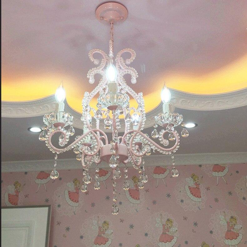 Детская Хрустальная люстра свадебные Комната Европейский Стиль Ресторан огни американский розовый принцесса номер Обувь для девочек Люст...