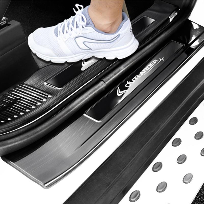 Le seuil de porte d'acier inoxydable couvre la protection de gardes de plaque de seuil pour Mitsubishi Outlander 2013-2018 accessoires de voiture 4 pièces