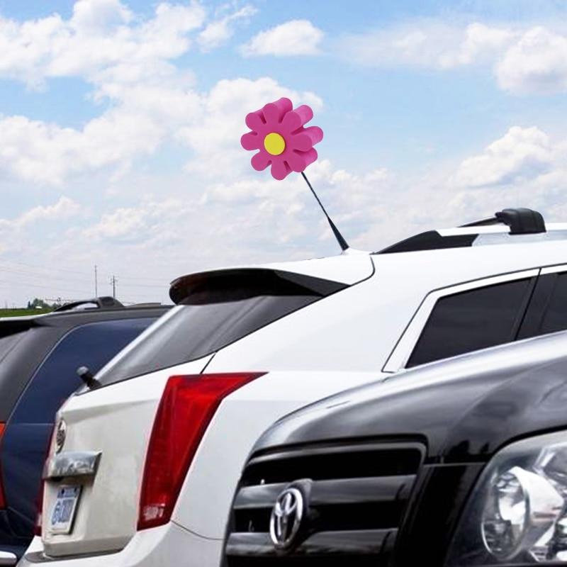 Pink Flower Car Antenna Topper EVA Aerial Topper Car Decoration Anti-Collision Sticker