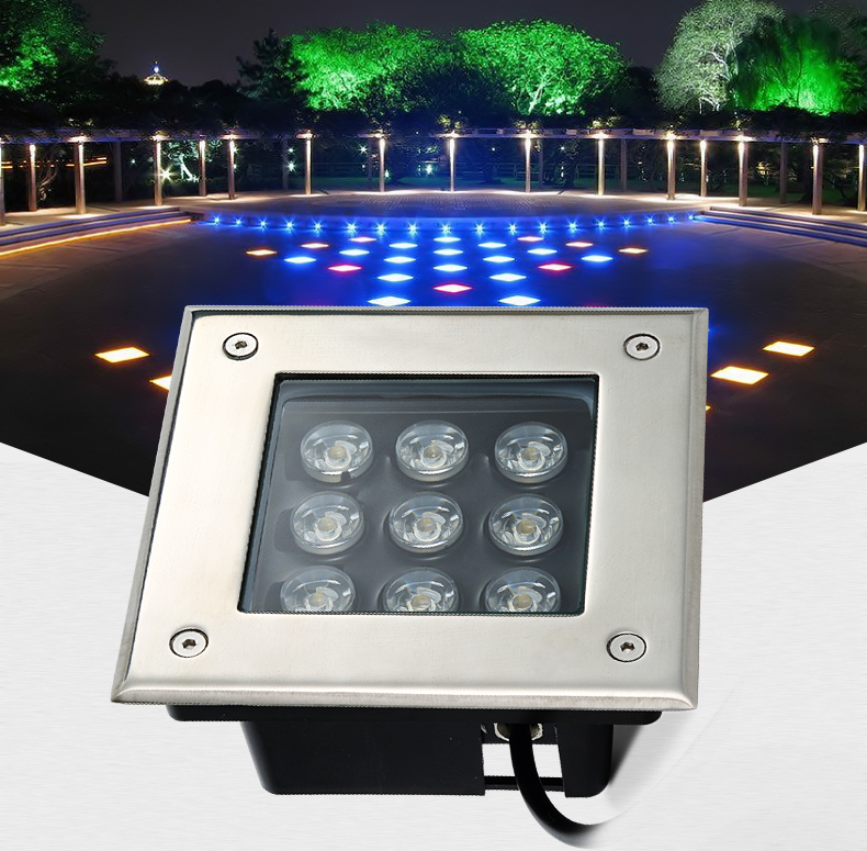 12pcs Ip68 Square Outdoor Buried Path Lighting 9w dia150mm  Grondspots Garden Terrace Recessed Led Floor Lights