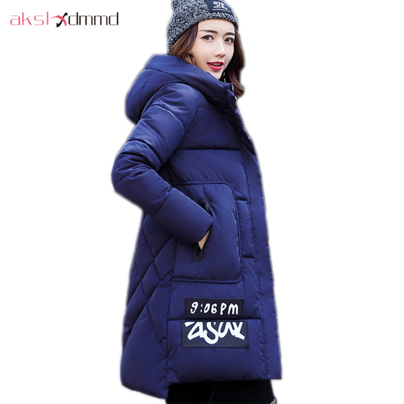 AKSLXDMMD Women Winter Jacket 2017 New Female Jacekt Fashion Hooded Printed Letters Thick Padded Woman Coat Parkas Mujer LH1066 akslxdmmd parkas mujer 2017 new winter women jacket fur collar hooded printed fashion thick padded long coat female lh1077