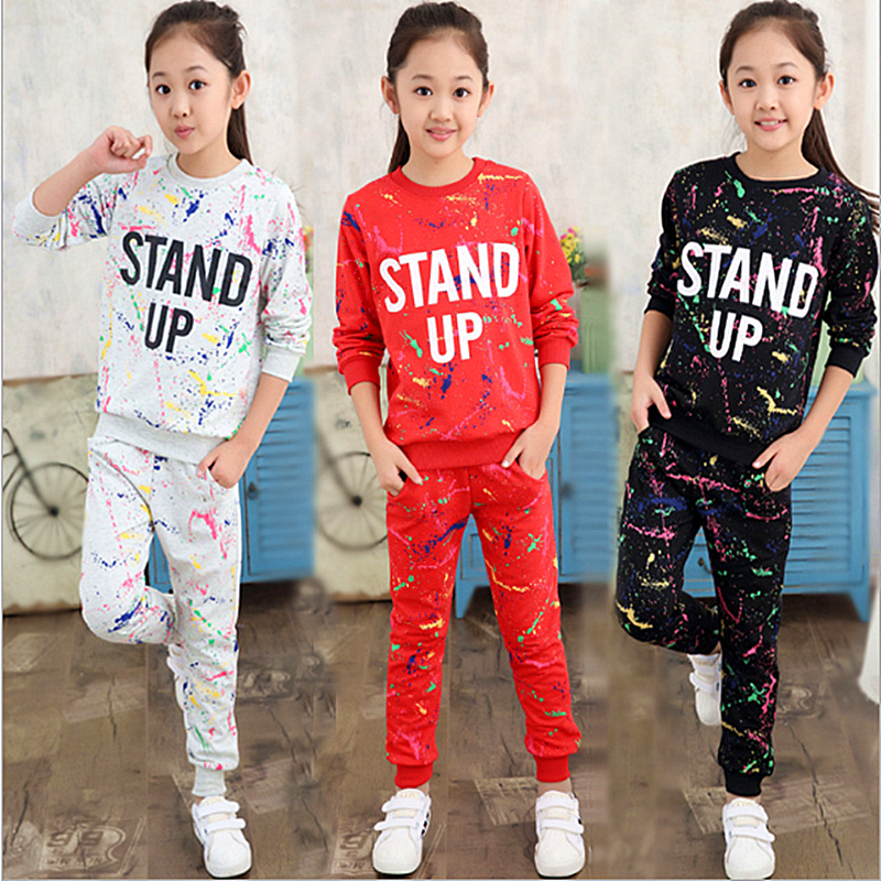 Autumn Girl Clothing Sets Letter T-shirts+ Graffiti Pants Children Clothes Set 5-11 Years Kids Sports Suit Teenagers Tracksuit new 2018 spring girls clothing sets kids graffiti sweatshirt sports tracksuit suit set for children teenagers girls clothes 54
