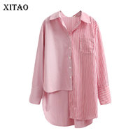 XITAO 2018 New Spring Korea Fashion Women Single Breasted Irregular Long Blouses Female Full Sleeve