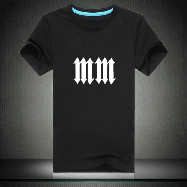 Marilyn Manson Double M Symbol American Heavy Metal T Shirt Summer