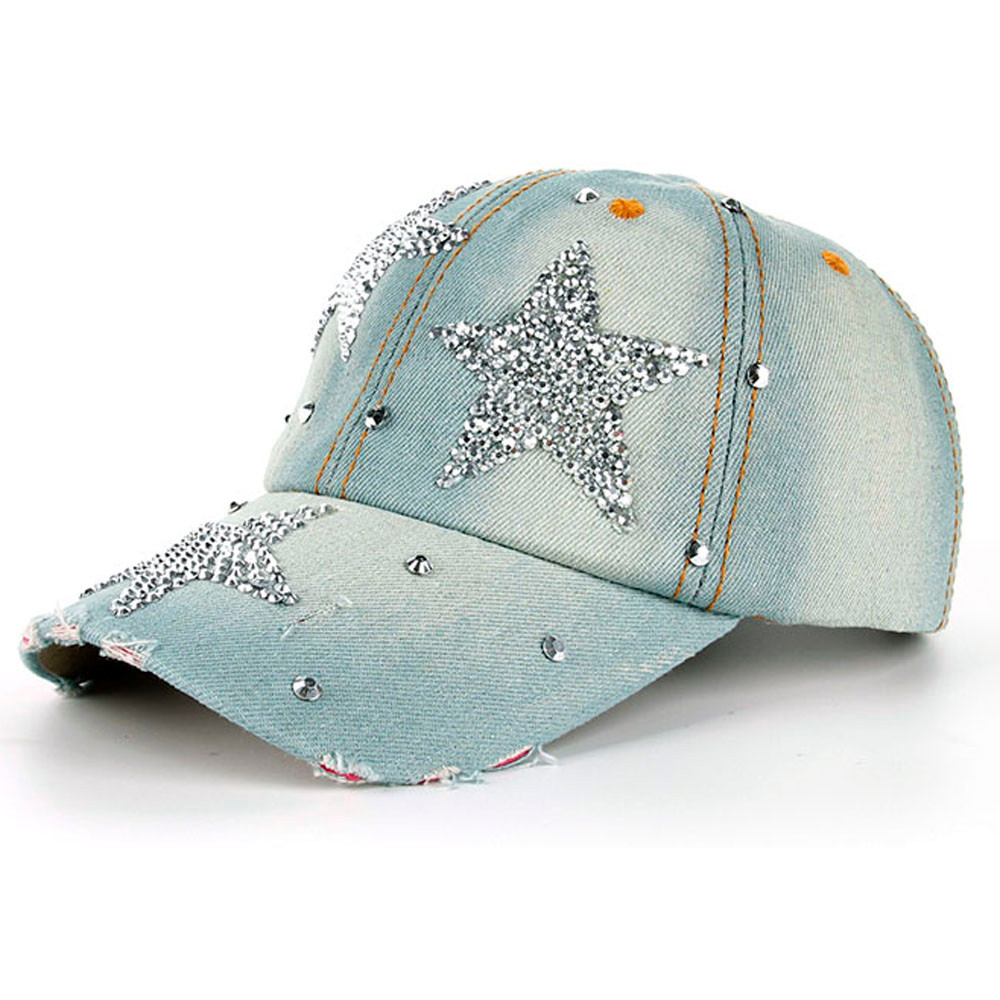Kopfbedeckungen Für Damen Bekleidung Zubehör Frauen Denim Snapback Hut Dame Jean Hut Point Drill Perle Cowboy Hut Strass Kristall Krone Hat Casquette Rc1060 rancyword