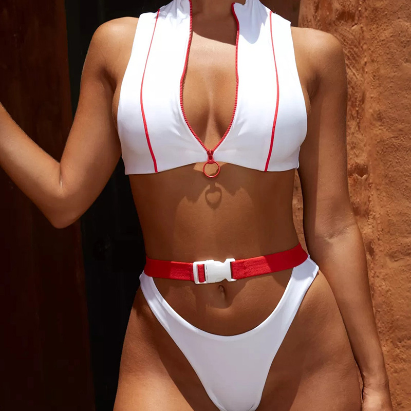 Swimwear Women Zipper Swimsuit 2019 Patchwork Buckle Bikini Bottom Swimming Suit  Women Bathing Suit Biquini Brazilian Beachwear