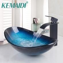 KEMAIDI умывальник для ванной комнаты из закаленного стекла, латунный умывальник с ручной росписью, раковина для раковины, латунный умывальник