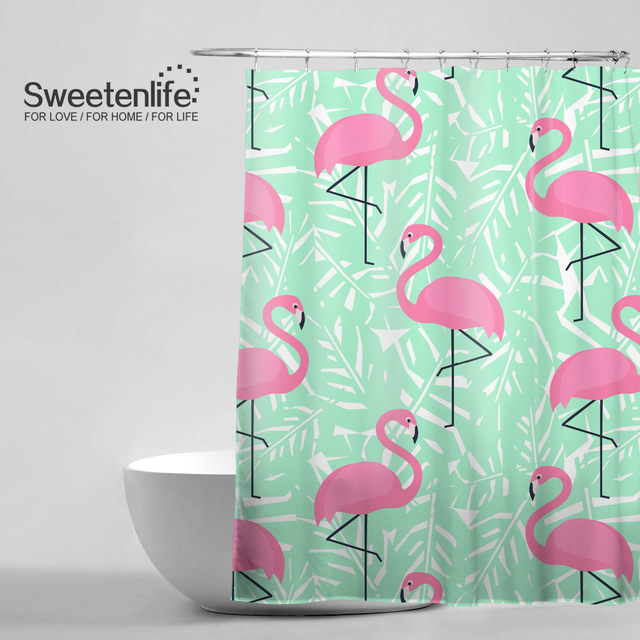 Tropical Trendy Pattern Shower Curtain Pink Flamingos Mint Green Palm Leaves Bath Exotic Hawaii Style