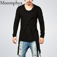 Moomphya Men Back Longline Hem T Shirt Autumn Long Sleeve Hip Hop Street Wear T Shirt
