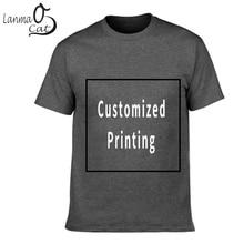 Lanmaocat Men Cotton T Shirt Custom Text Personalized T-shirts Print Logo Shirts Sleeve Printed Free Shipping
