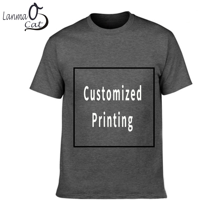 Lanmaocat Men Cotton   T     Shirt   Custom Text Personalized   T  -  shirts   Custom Print Logo Men   Shirts   Sleeve Logo Printed Free Shipping