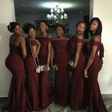 2017 Elegant Cheap African Bridesmaid Dress for Black Girl Burgundy Satin Long New Arrival Bridesmaid Dresses