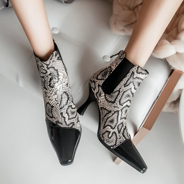 35f7974688a US $185.0  Spool High Heels Lady Pumps Short Botas Mujer Patchwork Dress  Shoes Woman Snakeskin Print Short Booties Vintage Women Boots 2018-in Ankle  ...