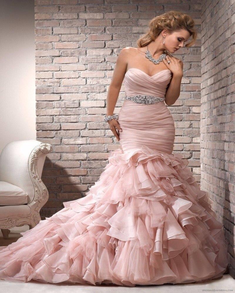 Fashion 2016 Organza Mermaid Wedding Dress Long Light Pink Tiered ...
