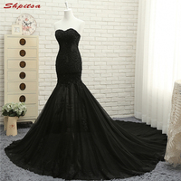 Sexy Black Lace Mermaid Prom Dresses Long Beaded Prom Evening Party Dresses For Graduation Gowns Vestidos