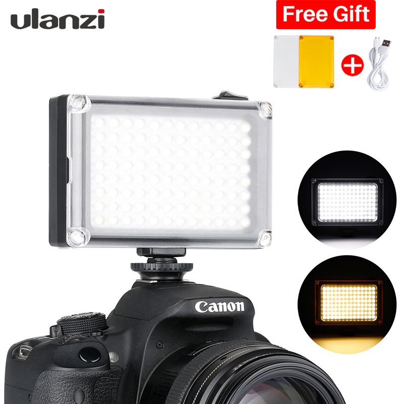 Ulanzi 96 LED on Camera Mini Video Panel Photo Light with 2500mAh Battery Filters Set for