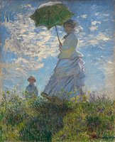 Green umbrella The Walk Woman With A Parasol Claude Oscar Monet oil painting reproduction decorative art on canvas