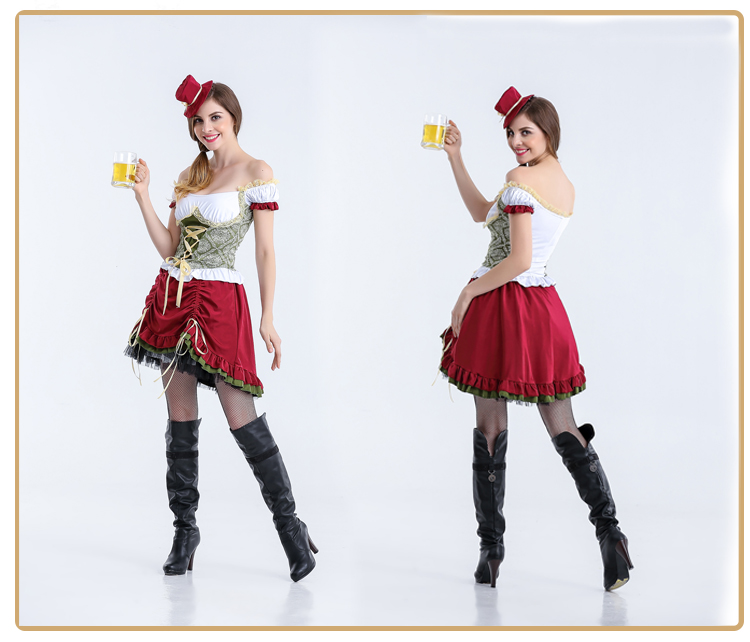 Image 5 - Adult Women Bavarian Oktoberfest Dirndl Costume Beer Festival Mardi Gras Ladies Sexy Funny Dress Long Outfit For Girls Plus Size-in Sexy Costumes from Novelty & Special Use
