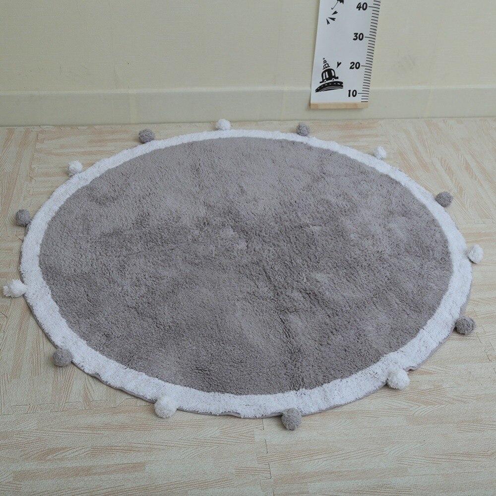 120 cm épais polaire Pom Pom enfants chambre décoration en peluche tapis de jeu tapis anti-dérapant grand tapis de sol rond tapis bébé ramper tapis - 3