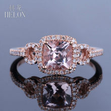 HELON PAVE 0.23CT NATURAL Diamonds HALO 6MM CUSHION 0.86CT MORGANITE SOLID 14K ROSE GOLD ENGAGEMENT WOMEN'S JEWELRY FINE RING