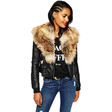 Fashion artificial leather jacket With fur collar Women Pu Motorcycle Small Coats Autumn winter windcheater outerwear ladies