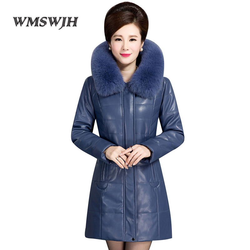 2019 New Winter Middle aged Women Jacket Fashion Fur Collar Hooded Leather Jacket Women Winter Down