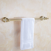 Customsize gold crystal towel bar 30/40/50/55cm wall mounted towel holder single layer solid brass bathroom accessories set