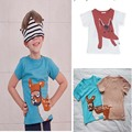 2016 kikikids summer bobo choses T shirt boys girls Tops Tee animal deer fox T shirt for boys girls vestidos bebe