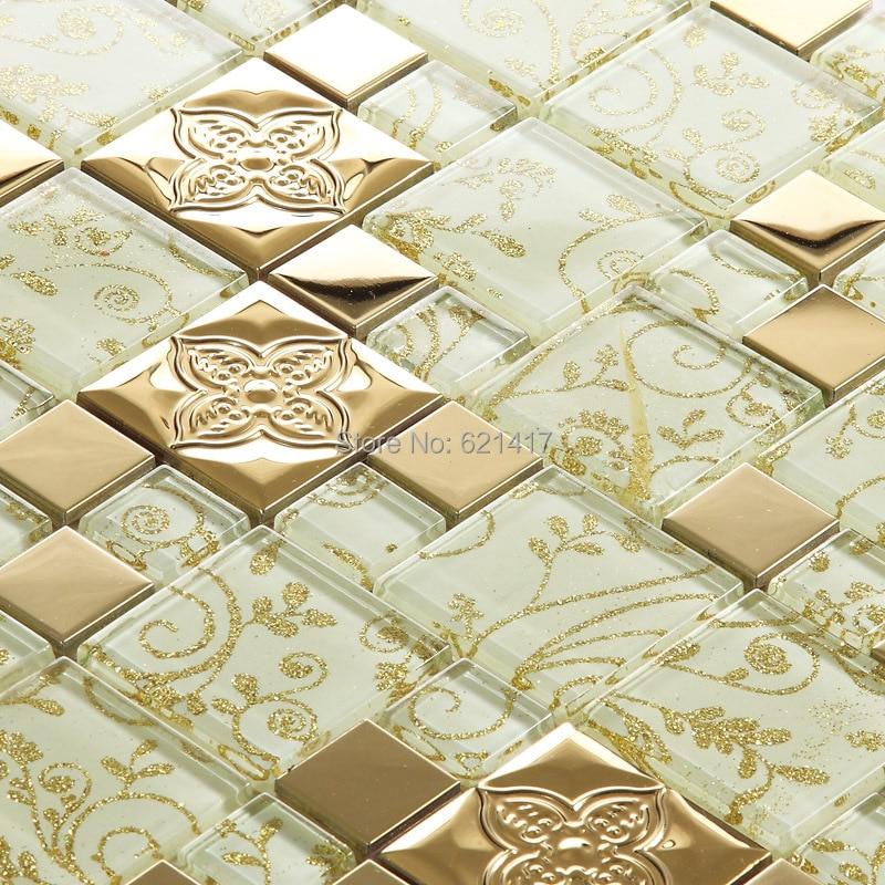 Azulejos de mosaico de acero inoxidable de vidrio 3D de flor amarilla - Decoración del hogar
