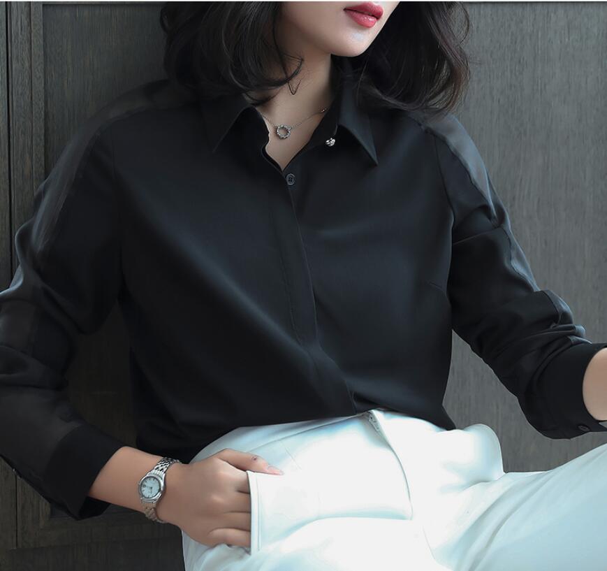 2019 Printemps Nouvelle Chemise Femme À Manches Longues grande taille S-4XL Mousseline décontracté Professionnel Mode Coréenne Dames Chemisier hauts