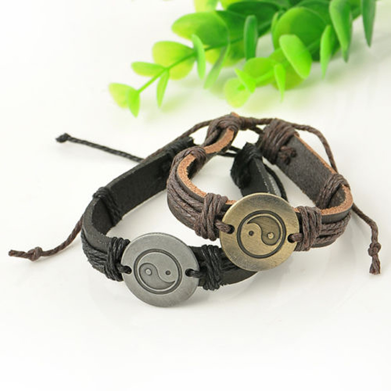 Charms Unisex Leather Bracelet Shellhard Punk Handmade Braids
