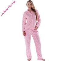 Women Autumn Winter Warm Coral Fleece Big Size Pink Sleepwear Pajama Suit Nightwear 2 Pieces Pyjama