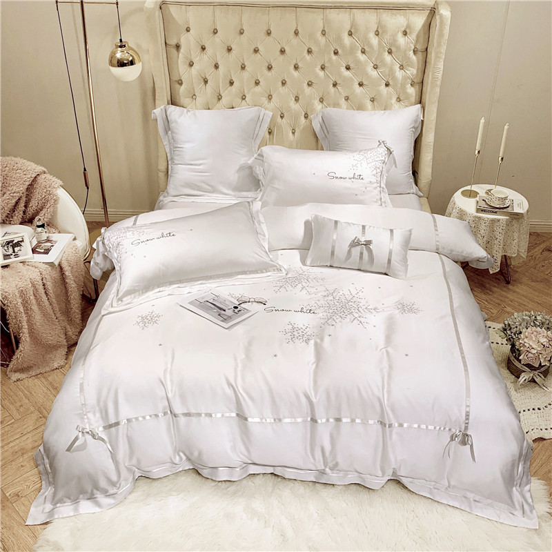 Solid White Blue Color Princess Girls Bedding Tencel Silk Ultra Soft King Queen Size Bed Sheets Embroidery Duvet Cover Bed Set