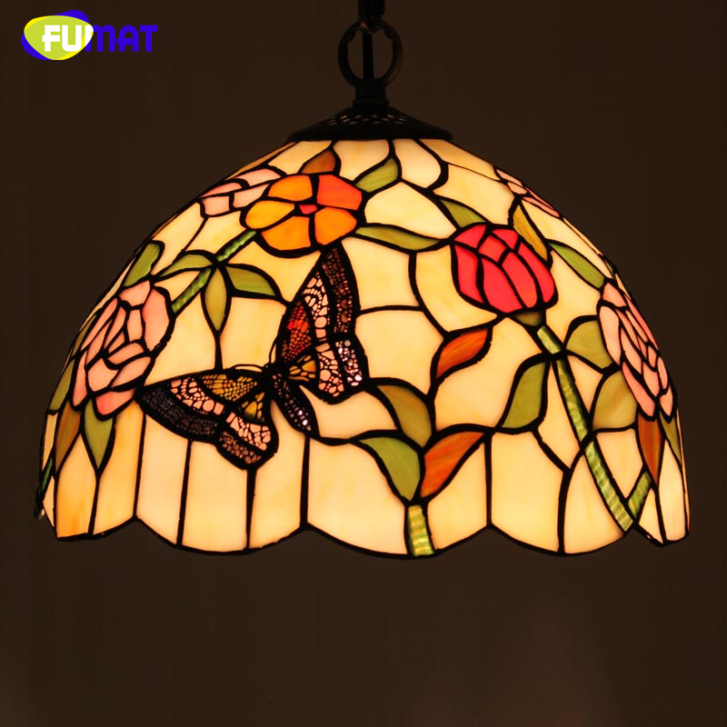 FUMAT Stained Glass Pendant Light Creative Glass Rose Shade Lamp For Living Room Kitchen Home Decor E27 Light Fixtrures