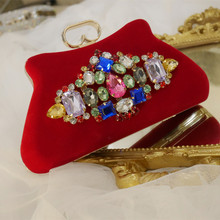 Red and Black colors diamonds women bags velour purse holder bags rhinestones clutch evening bags for wedding elegant Mom Bag