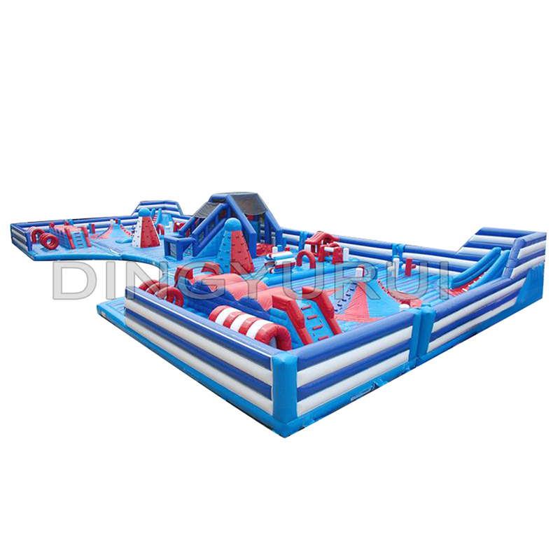 Outdoor PVC customized fun city inflatable bouncer obstacle with slide giant castle for children
