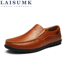 LAISUMK Design Genuine Leather Shoes Men Loafers Flat Slip On Male Sneakers Moccasins Casual Shoe Footwear