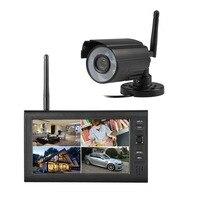 2.4G 4CH QUAD DVR Security CCTV Camera System Digital Wireless Kit Baby Monitor 7 TFT LCD Monitor+ 1 Cameras