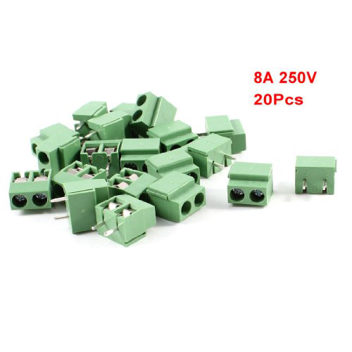 DSHA New Hot 20pcs 2 Pole 5mm Pitch PCB Mount Screw TermInal Block Connector 8A 250V